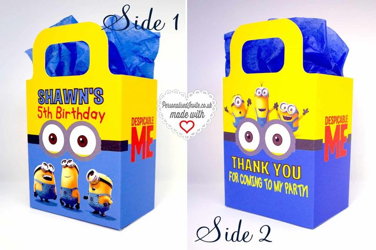 Personalised Despicable Me Minions Party Bags - Personalised Invite