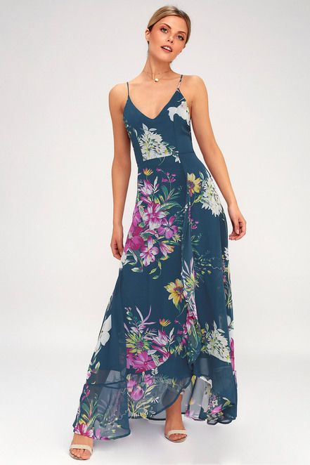 c75fadc96edc Lulus | Passion Island Teal Blue Floral Print Maxi Dress | Size ...