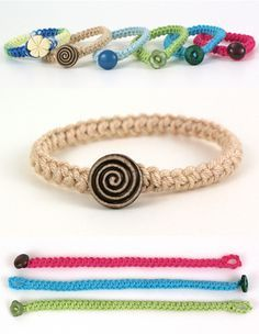 Crochet Braid Bracelet - free pattern from Planet June.