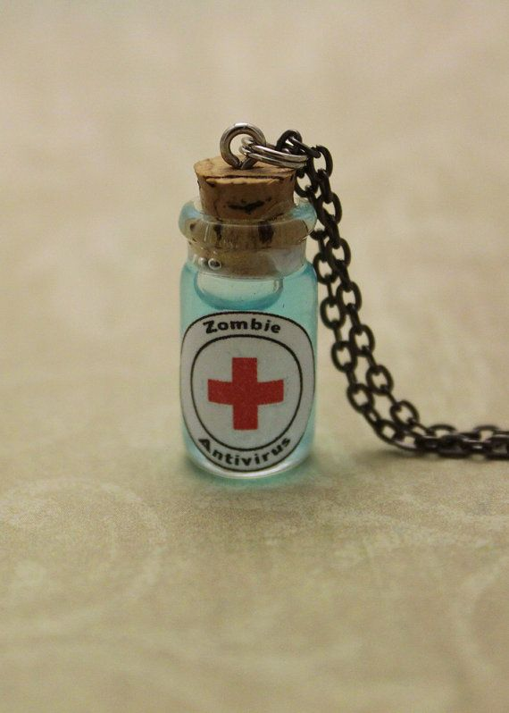 Glass Vial Necklace, Zombie Antivirus