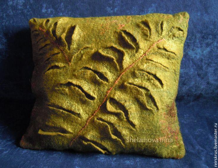 """Купить подушки валяные """" Таинственный лес """" - коричневый, подушка декоративная, подушка на диван"""