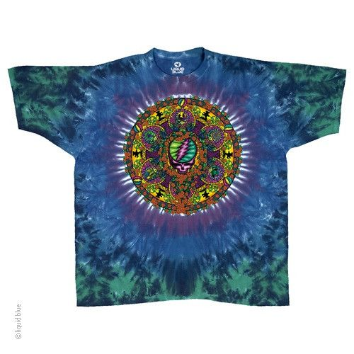 Great artwork on this blue/green tie dye Grateful Dead tee. Dancing bears and turtle, roses and stealy's are all intertwined in this intricate design. Another Willys favorite!