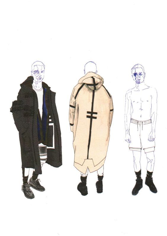 Illustrations from final year Westminster BA (Hons) Fashion Design students featuring their runway collections: