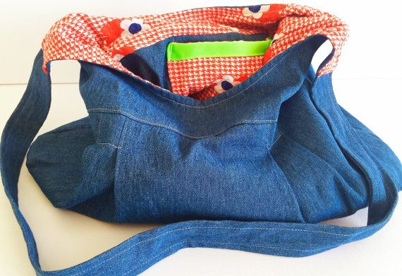 Individual, one off, handmade handbag. Light denim with cute vintage red houndstooth and flower fabric.