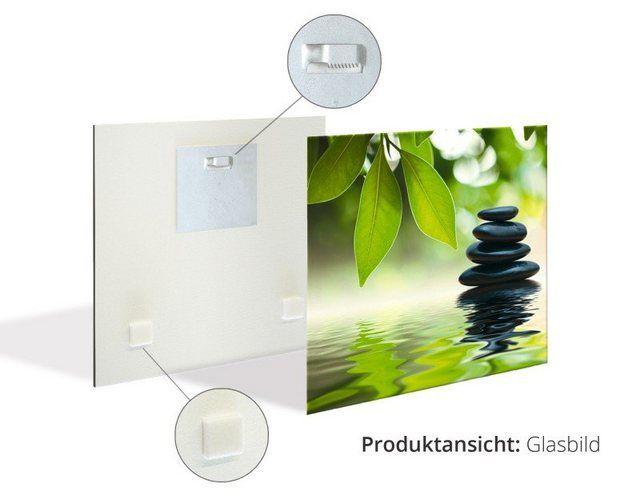 Glasbild »Kräuter mit Holzoptik Botanik Pflanzen Foto«