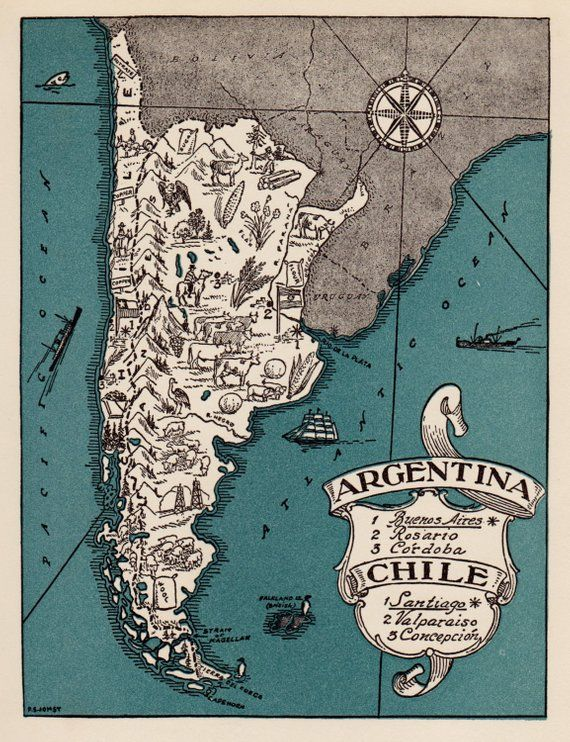 1940s Vintage ARGENTINA and CHILE Picture Map Print Gallery Wall Art Anniversary Gift for Birthday Wedding Honeymoon