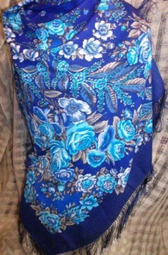 "Russian Pavlovo Posad shawl scarf 146 x 146 cm (57x57"") 100% wool, 100% silk fringe                                                                                                      A LA RUSSE # RUSSIAN SHAWL"