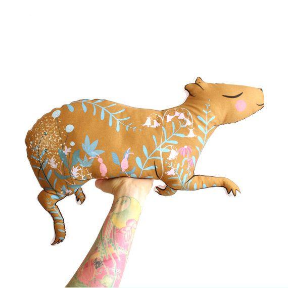 Capybara Kissen Softie Plüsch floral - Wurfkissen - Meerschweinchen Haushaltswaren Kindergarten Dekor Abbildung illustriert