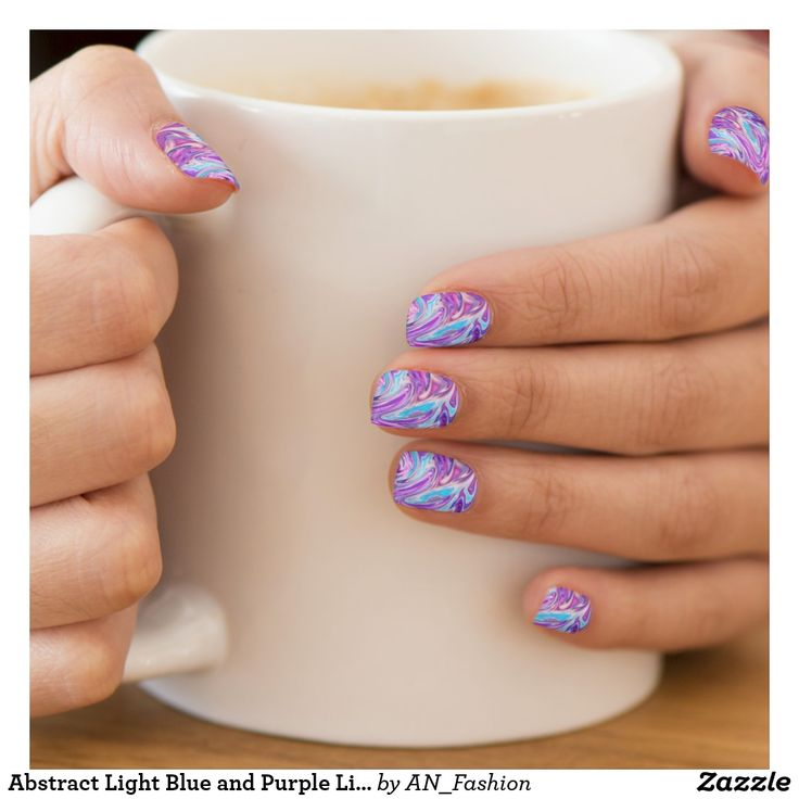 Abstract Light Blue and Purple Liquid Swirl Minx Nail Wraps - use code STUCKONUZAZZ for 40% off until 2/9/2018!#minx #nails #nailwraps #minxnails #abstract #liquid #swirls #marble #purple #lightblue #blue #purplebluenails #zazzle #gift #affiliatelink