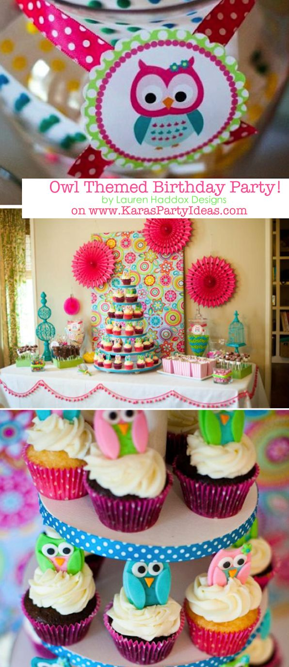 Look Whooo's one OWL themed birthday party first 1st Baby Kids Girl @Liz Mester Mester Hubbard @Brittany Horton Horton Stacho Birthday ideas to go with the theme from the shower. The idea of the continuation of the theme would be cool!