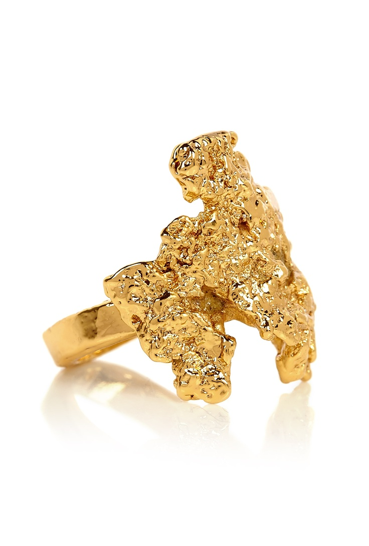Gold molten nugget ring