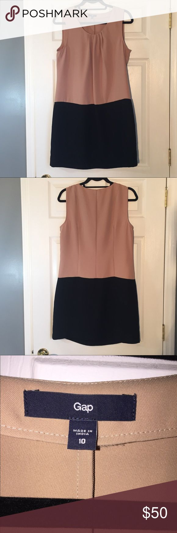Gap Tan & Black Dress Gap tan and black colorblock sheath dress.  Sheath dress, colored blocked with tan and black makes it look like a drop waist.  Pleat detail at neckline, sleeveless, size 10.  Excellent condition! GAP Dresses