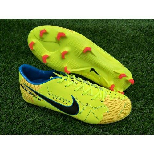 Billige Fodboldstøvler Tilbud - Nyeste Nike MercurialX Victory VI FG Gul Grøn Blå Fodboldstøvler