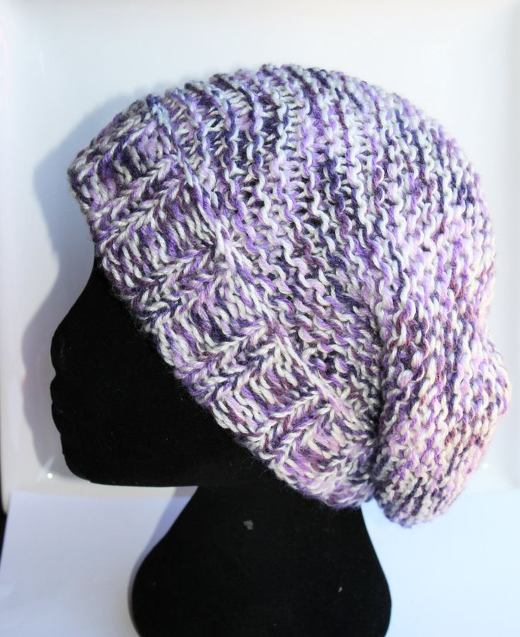 Slouchy Hat, Knitted, Handmade, Purple Black White, Beanie, Thick Chunky, Acrylic Wool,Ladies,Mens,Unisex Style by KimMageeARTandCraft on Etsy