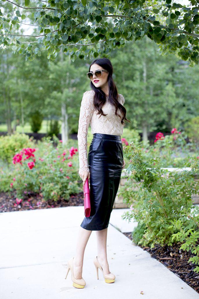 black+sweet…Top: Milly | Skirt: Asos | Heels: Charlotte Olympia | Clutch: Saint Laurent | Glasses: Prada | Lips: YSL Rouge Volupte #11
