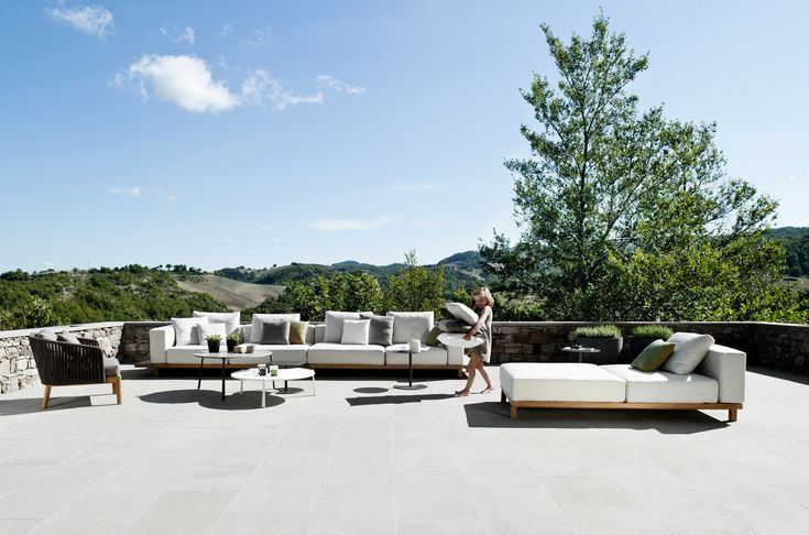 Sofá secional de tecido para jardim Sofá Coleção Vis à vis by TRIBÙ | design Piergiorgio Cazzaniga