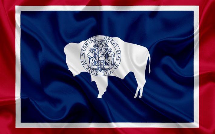 Hämta bilder Wyoming State Flagga, flaggor av Stater, flagga Wyoming, USA, staten Wyoming, blå silk flag, Wyoming vapen