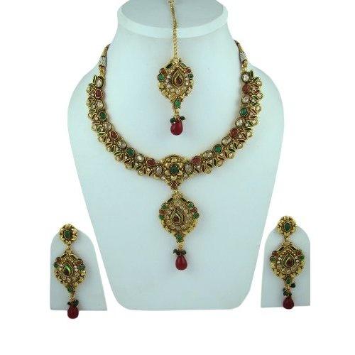 Traditional Bridal Jewelry Set Red Green Stone Kundan Polki Necklace Earring Maang Tikka Sets: Jewelry: Amazon.com  $89.99