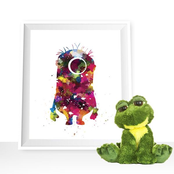 Minion print, Minion printable, Minion poster, Minion download, Minion wall art, Minion watercolor art, Minion kids room, Minion painting by HappyLittleFrog on Etsy