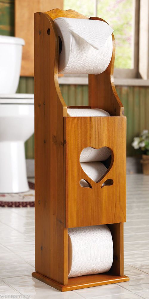 Country Charming Heart Wooden Toilet Paper Roll Holder Tower Bath Storage Decor