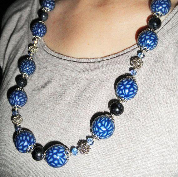 Blu collana d'argento classico moderno di moda di HanDesign1987