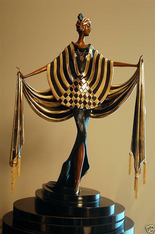 """Erte Bronze Statue """"Opening Night"""""""