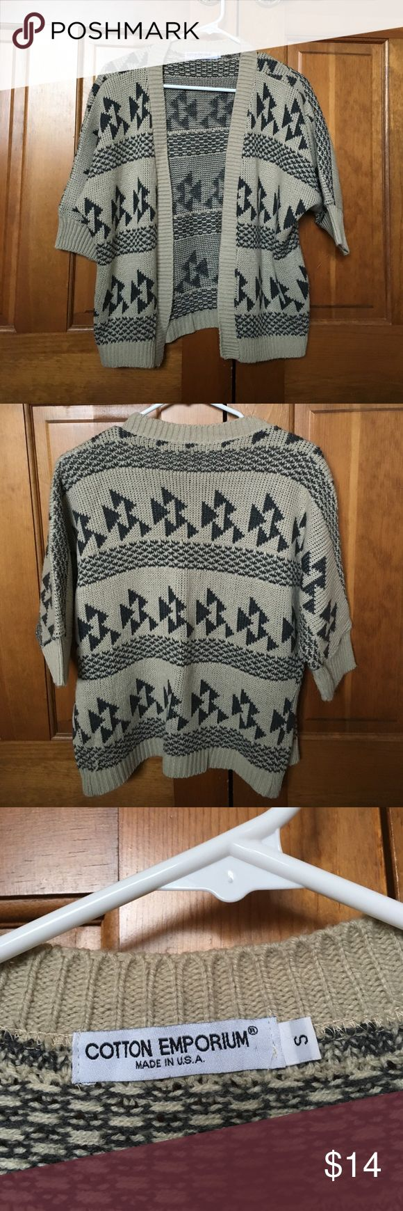 Tribal print Cardigan Tan and dark grey tribal patterned seawater. Only worn several times. 1/2 sleeves. Minor pilling and a few snags as noted but overall great condition! Sweaters Cardigans