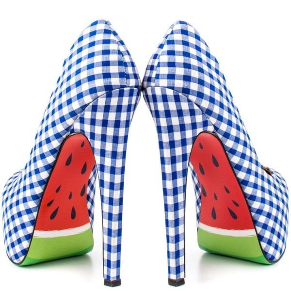 Blue Gingham and Watermelon Heels! Most random combo ever! I like 'em!:)