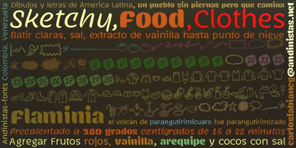 http://myfonts.us/YfDSFc Flaminia is a typeface family of 4 members designed by Carlos Fabián Camargo G. The central idea started as Dingbats and titles labeled with fine-tipped brushes and flat tip for graphic design related restaurant menus, instructions, packaging, food containers and labels. Thus began the process of drawings and letters integrated by shapes and counterblocks that seem inaccurate yet but at the same time clean and attractive.