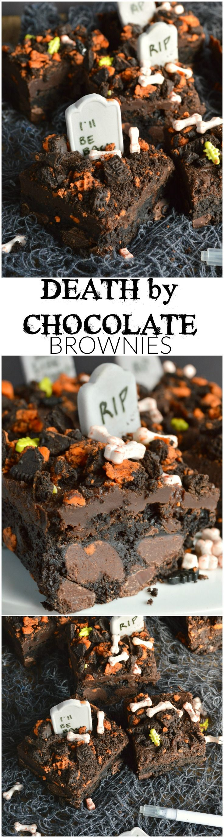 Death by Chocolate Brownies - what a way to go! Thick fudgy brownies are loaded with chocolate chunks, topped with rich chocolate ganache and crushed Oreo cookies. These are all dressed up for Halloween, but they are sure to quell that chocolate craving all year round!