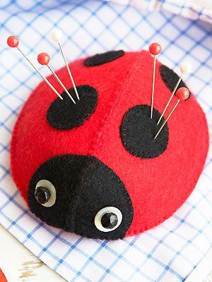 Sew a ladybird pincushion: