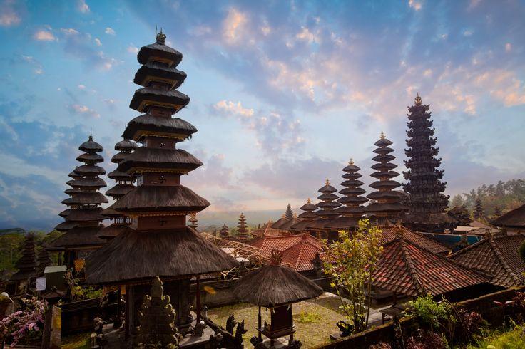 Besakih komplex Pura Penataran Agung, hinduistické mateřský chrám Bali, Indonésie