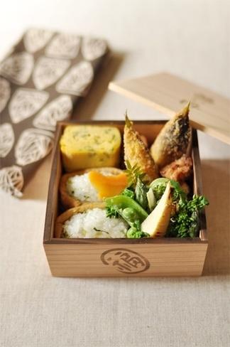 Japanese Bento Box Lunch (Inarizushi - Sushi Rice Stuffed Tofu Porch, Spring Mountain Veggies Gomaae-Sesame Salad, Bamboo Shoot Croquette), by Miho|春の和弁当