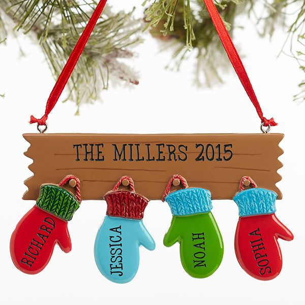 16248 - Warm Mitten Family© Personalized Ornament