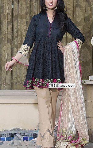 Black/Ivory Lawn Suit   Buy Kalyan Pakistani Dresses and Clothing online in USA, UK
