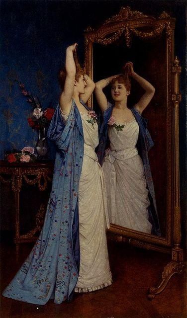 La toilette by Auguste Toulmouche (1829 - 1890) .... #mirror