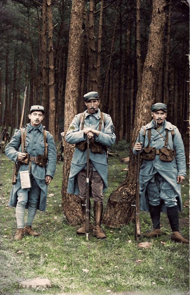 """3 """"Poilus"""" du 5e Régiment d'Infanterie - 1ère Guerre Mondiale. c. 1917"""