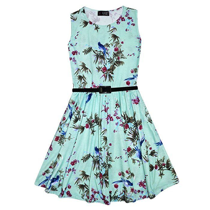 Girls Skater Dress Kids Floral Mint Abstract Belted Summer Party