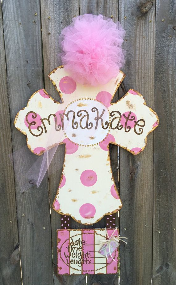 Hospital door hanger for baby girl Cross door by GlitterBitofPaint