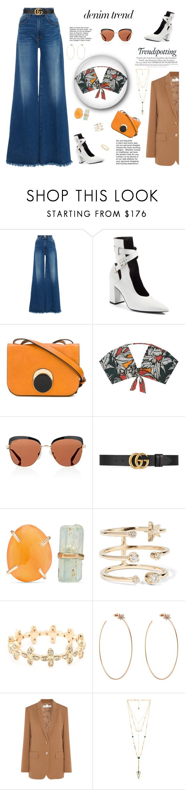 """Denim Trend: Wide Leg Denim"" by fashionbrownies ❤ liked on Polyvore featuring Frame, Robert Clergerie, Marni, Água de Coco, Prada, Gucci, Melissa Joy Manning, Andrea Fohrman, Mathilde Danglade and Diane Kordas"