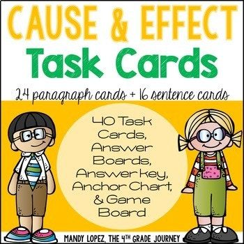In this cause & effect pack you will find the following: -24 paragraph task cards, requiring students to find both the cause and effect -16 sentence task cards, requiring students to identify either the cause or effect -1 Cause & Effect poster