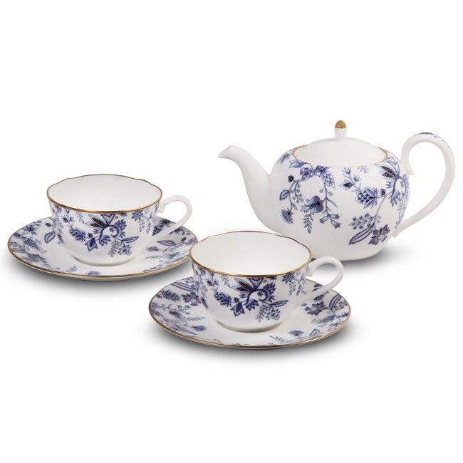 Tea for Two Set. Blue and white Noritake china tea set.