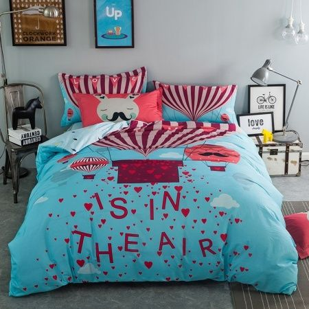 Burgundy Red Sky Blue and White Hot Air Balloon Print Funny Style Reversible 100% Cotton Twin, Full Size Bedding Sets