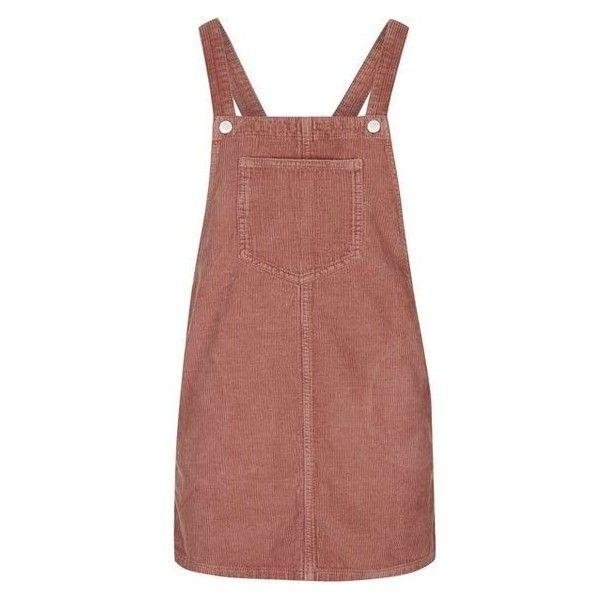 TopShop Petite Cord Pinafore Dress ❤ liked on Polyvore featuring dresses, denim dress, petite dresses, brown dress, pinafore dresses and topshop dresses