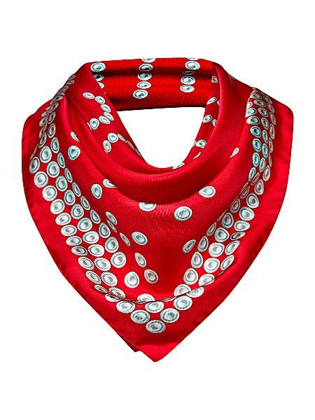 Moschino Cheap & Chic Pearl silk square scarf having printed designs suitable perfectly for formal looks.