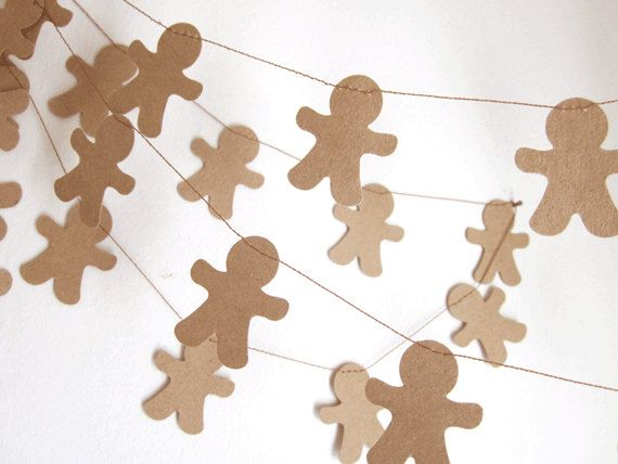 Christmas Garland - Gingerbread Man Decoration - Gingerbread Boy Garland - Christmas Decorating via Etsy