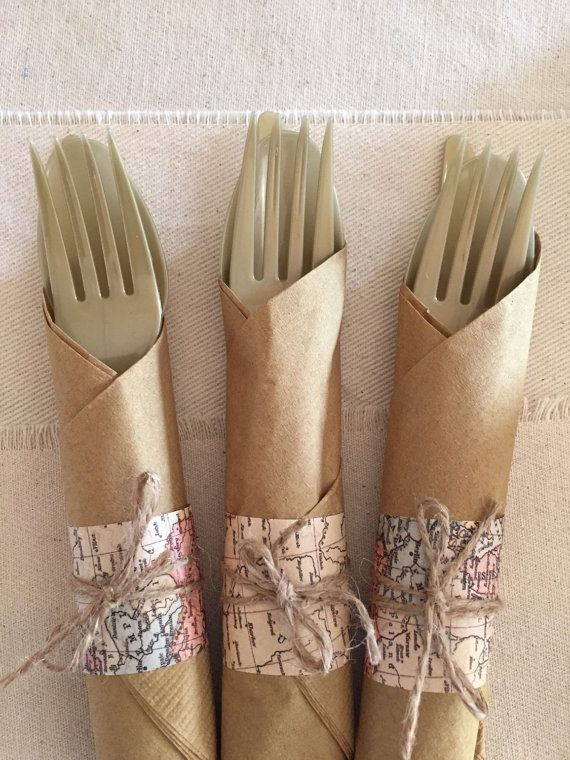 Set of 16 travel theme plastic silverware and by lovestrungshop