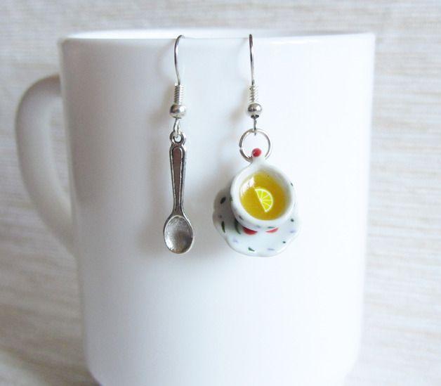 Pendenti - Orecchini in Fimo - L'ora del tè - un prodotto unico di HappyBeeLab su DaWanda