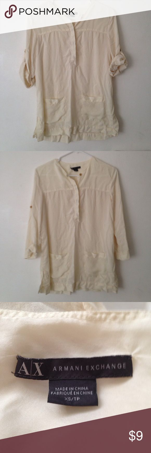 Armani exchange beige blouse Used but in good condition Armani Exchange Tops Blouses