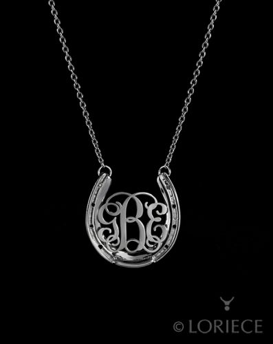 HORSESHOE MONOGRAM Necklace - Equestrian Jewelry - Designs By Loriece